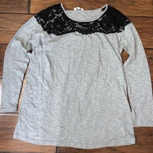 Gray Long Sleeve Tee with black lace on Shoulders